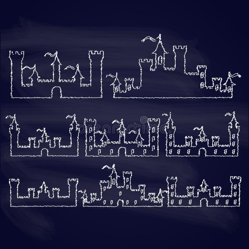 L'insieme della fantasia fortifica le siluette del gesso per illustrazione vettoriale