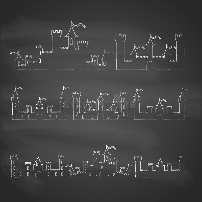L'insieme della fantasia fortifica le siluette del gesso per progettazione su priorità bassa grigia Vettore illustrazione vettoriale