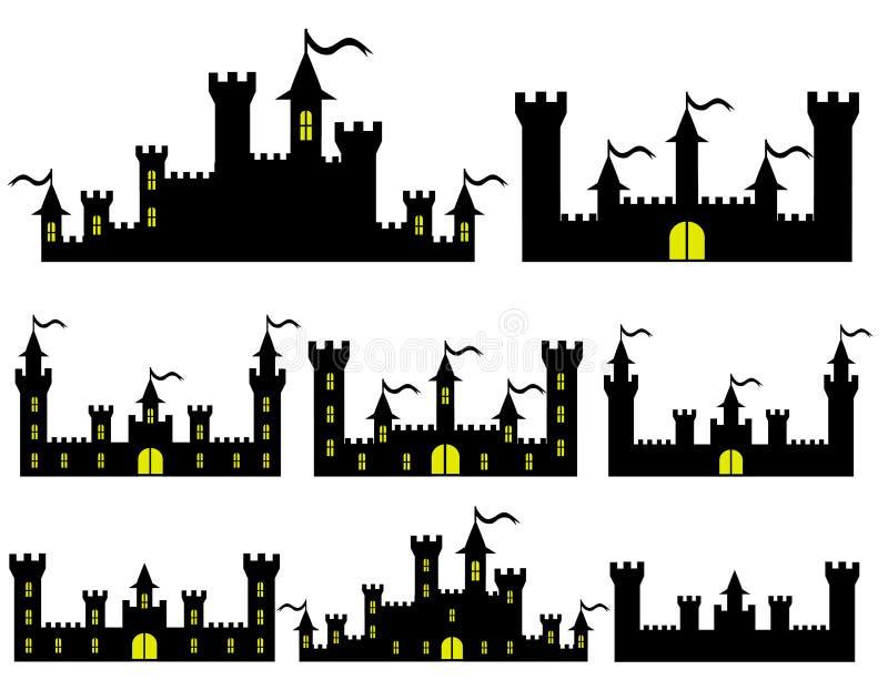 L'insieme della fantasia fortifica le siluette per progettazione illustrazione vettoriale