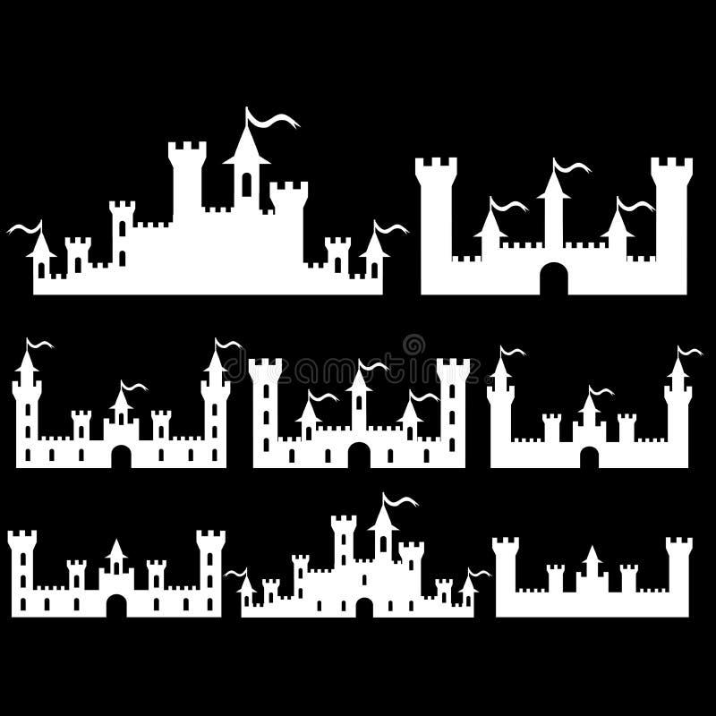 L'insieme della fantasia fortifica le siluette per progettazione Su fondo nero Vettore illustrazione di stock