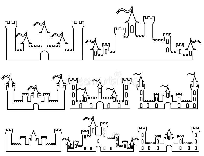 L'insieme della fantasia fortifica le siluette per progettazione Vettore i royalty illustrazione gratis