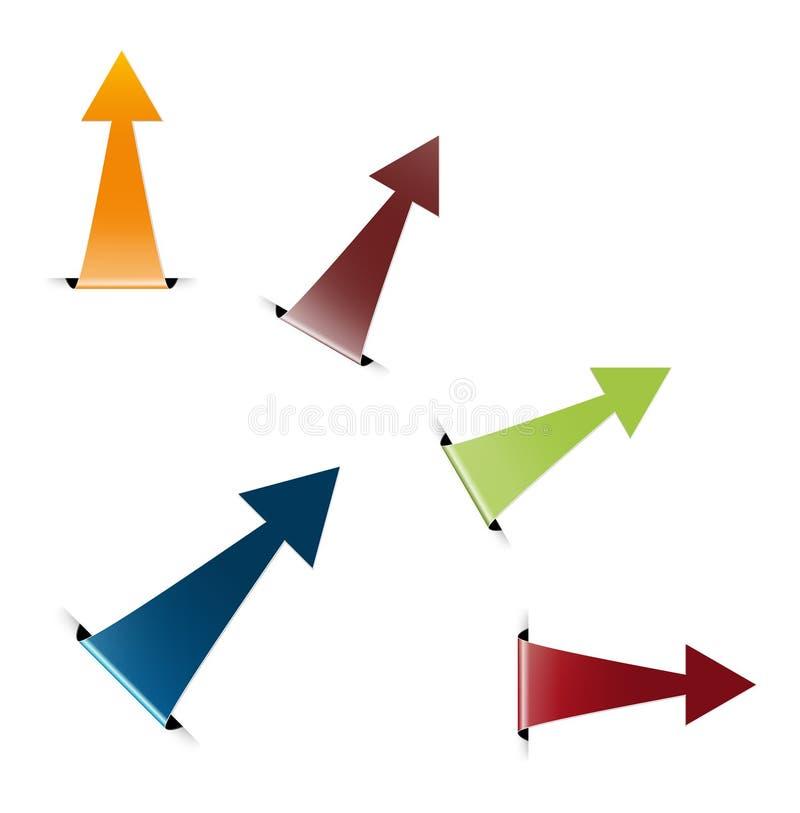 L'insieme della freccia piegata lucida illustrazione di stock