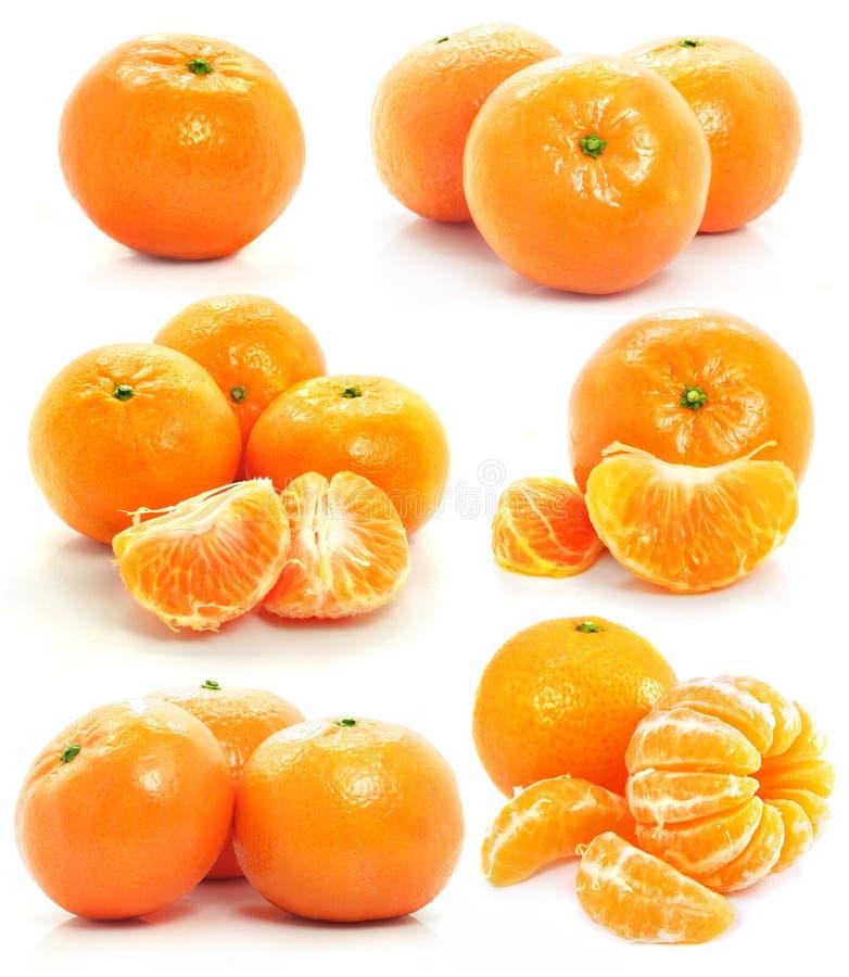 L'insieme della frutta del mandarino ha isolato l'alimento su bianco fotografia stock libera da diritti