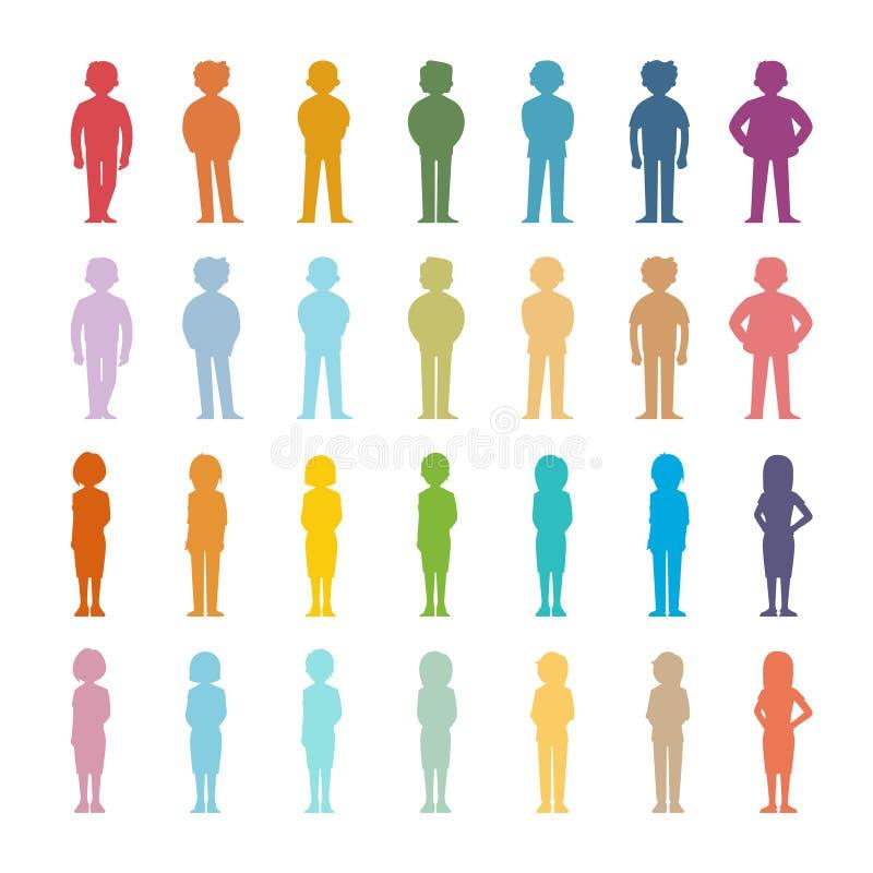 L'insieme della gente del fumetto di vettore ha colorato le forme del profilo illustrazione vettoriale