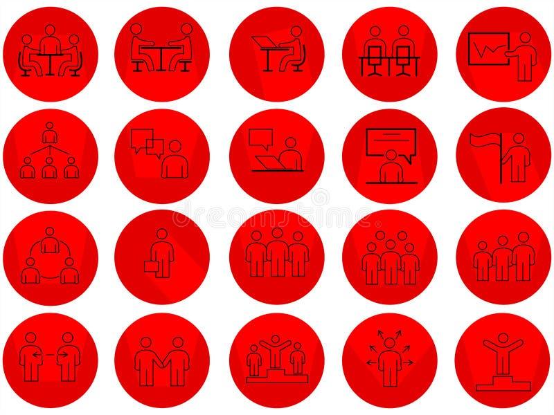L'insieme della gente di affari ha collegato la linea icone di vettore con le ombre lunghe illustrazione vettoriale