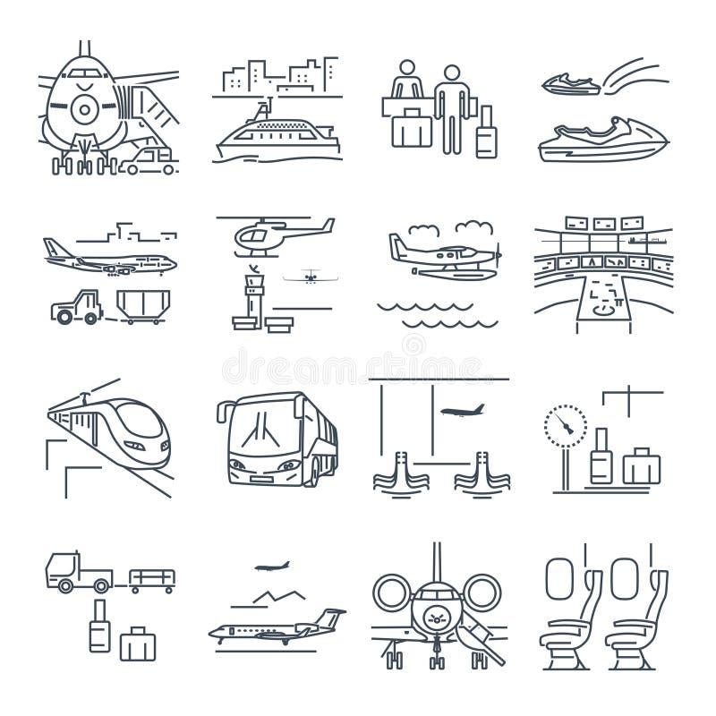 L'insieme della linea sottile icone viaggia, turismo, il trasporto, treno illustrazione vettoriale