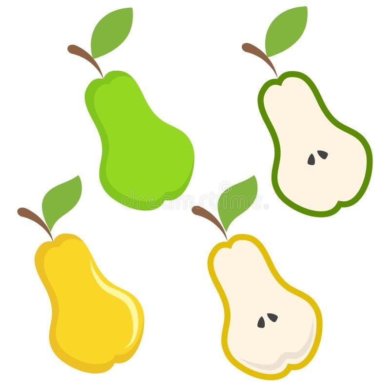 L'insieme della mano gialla e verde dell'icona della frutta della pera attinge il bianco, stoc illustrazione vettoriale