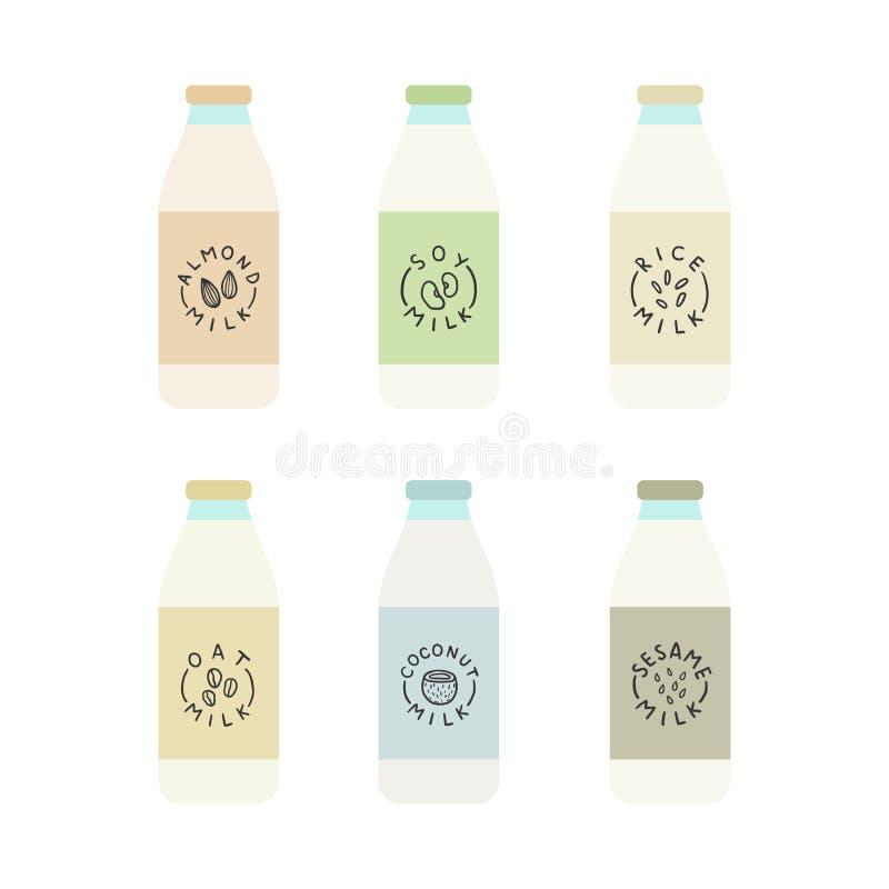 L'insieme della pianta ha basato le bottiglie per il latte royalty illustrazione gratis