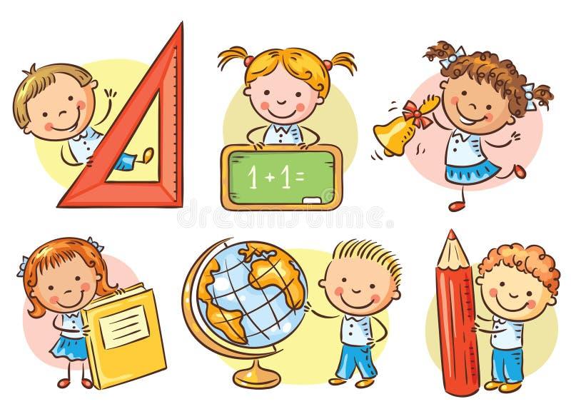 L'insieme della scuola del fumetto scherza la tenuta degli oggetti differenti della scuola royalty illustrazione gratis