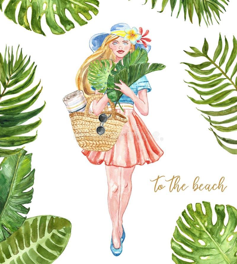 L'insieme della spiaggia dell'estate dell'acquerello, siolated Ragazza sveglia in un vestito da estate, borsa della paglia, occhi illustrazione di stock
