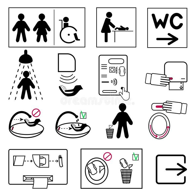 L'insieme della toilette e del bagno firma per i luoghi pubblici illustrazione vettoriale