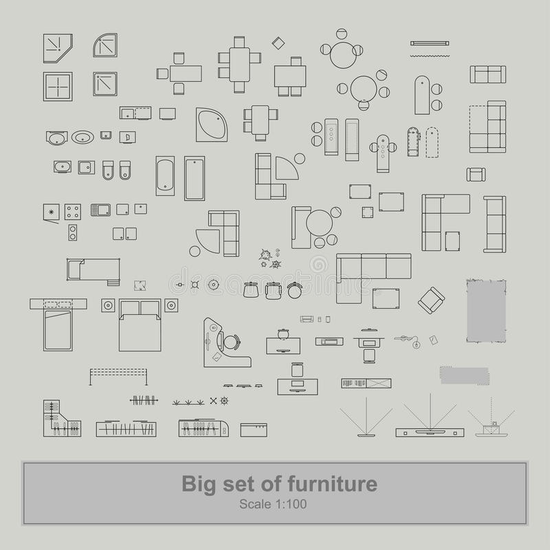 L'insieme della vista superiore della mobilia per gli appartamenti progetta royalty illustrazione gratis