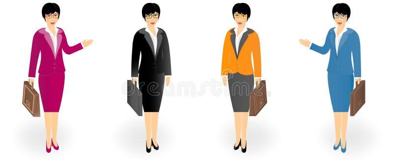 L'insieme delle donne di affari in ufficio copre con una cartella isolata su bianco illustrazione di stock