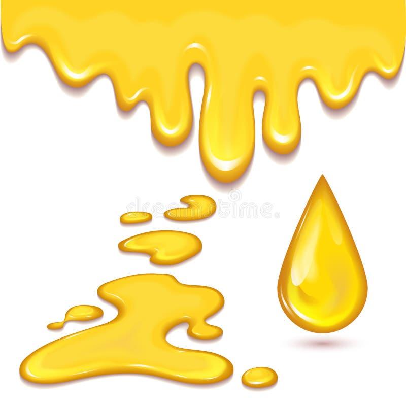 L'insieme delle gocce e del giallo arancio del miele spruzza lo sciroppo sano illustrazione vettoriale