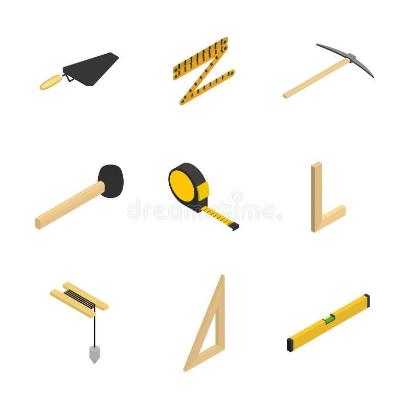L'insieme delle icone 3d foggia il muratore, illustrazione di vettore illustrazione vettoriale