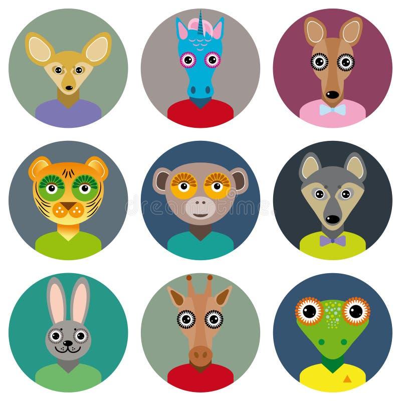 L'insieme delle icone del cerchio dei fronti degli animali ha messo nello stile piano d'avanguardia zoo royalty illustrazione gratis