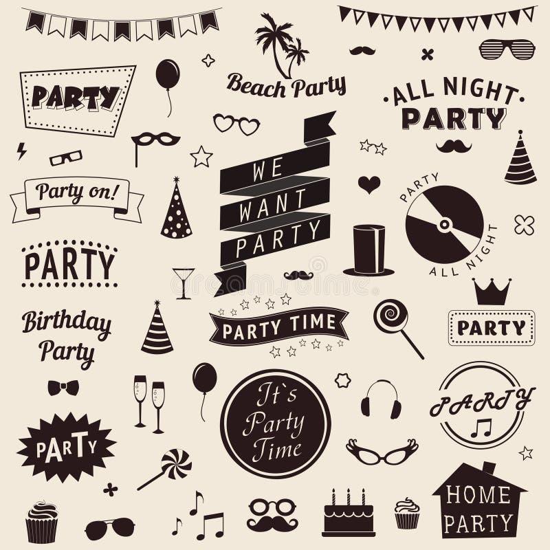 L'insieme delle icone del partito Vector i segni ed i modelli di simboli per la vostra progettazione illustrazione di stock