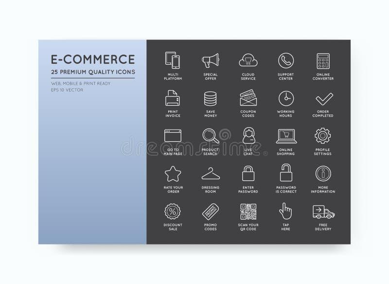 L'insieme delle icone di commercio elettronico di vettore che comperano ed online può essere a usata royalty illustrazione gratis