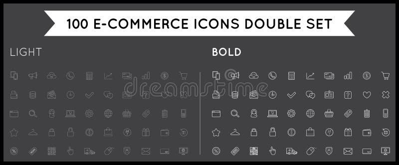 L'insieme delle icone di commercio elettronico di vettore che comperano ed online può essere a usata illustrazione vettoriale