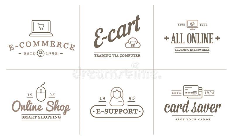 L'insieme delle icone di commercio elettronico di vettore che comperano ed online può essere usato come logo royalty illustrazione gratis