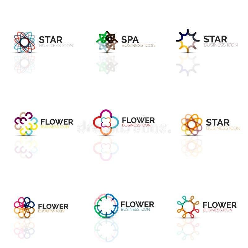 L'insieme delle icone lineari minimalistic astratte della stella o del fiore, linea sottile simboli piani geometrici per l'icona  illustrazione vettoriale