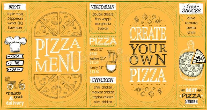 L'insieme delle liste del menu della pizza, crea la vostra propria pizza, la pizza del giorno, sconti royalty illustrazione gratis
