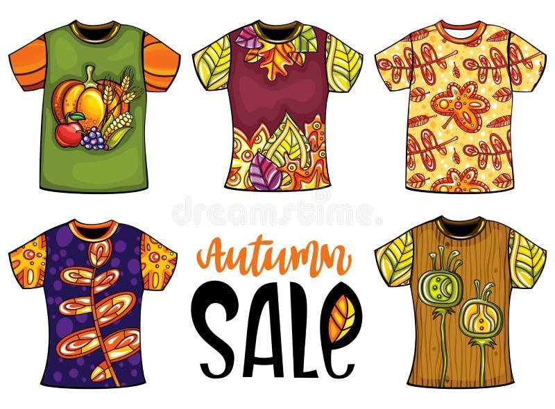 L'insieme delle magliette dei modelli per gli uomini e la donna con l'autunno progettano illustrazione di stock
