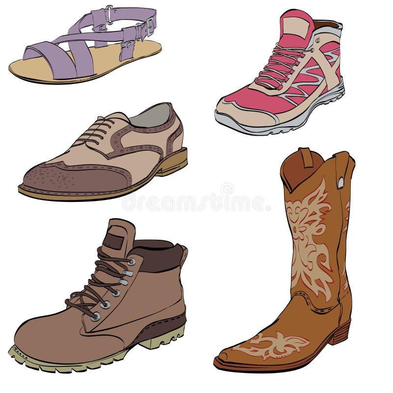 L'insieme delle scarpe degli uomini, scarpe da tennis veste gli stivali ed i sandali illustrazione di stock