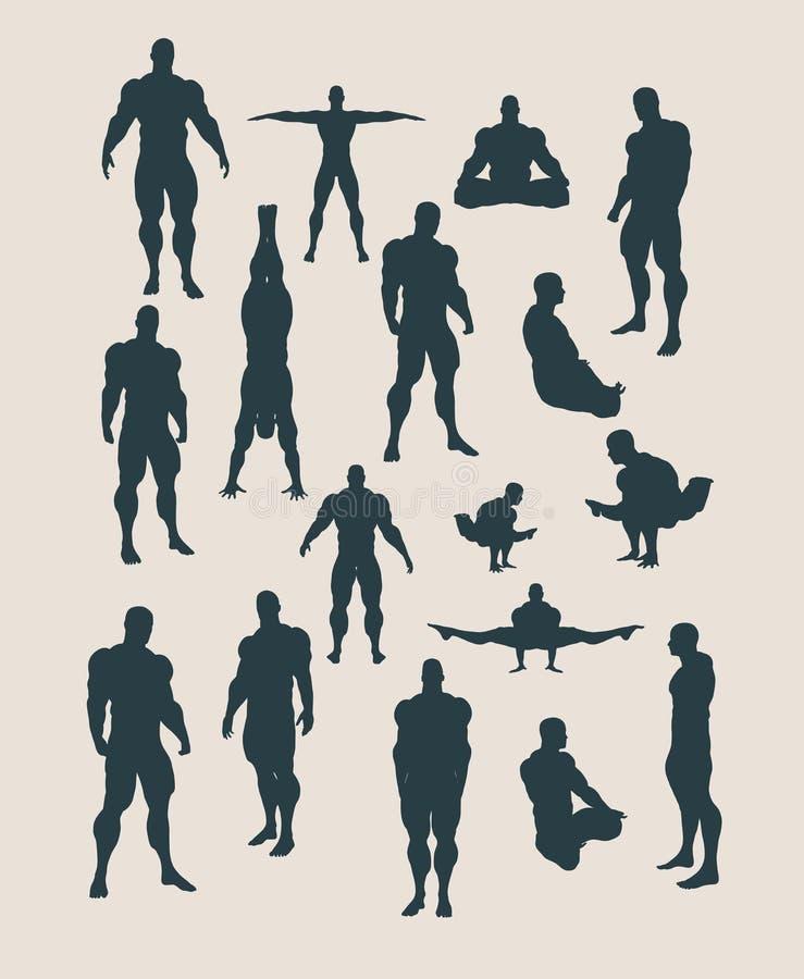 L'insieme delle siluette del body building illustrazione di stock