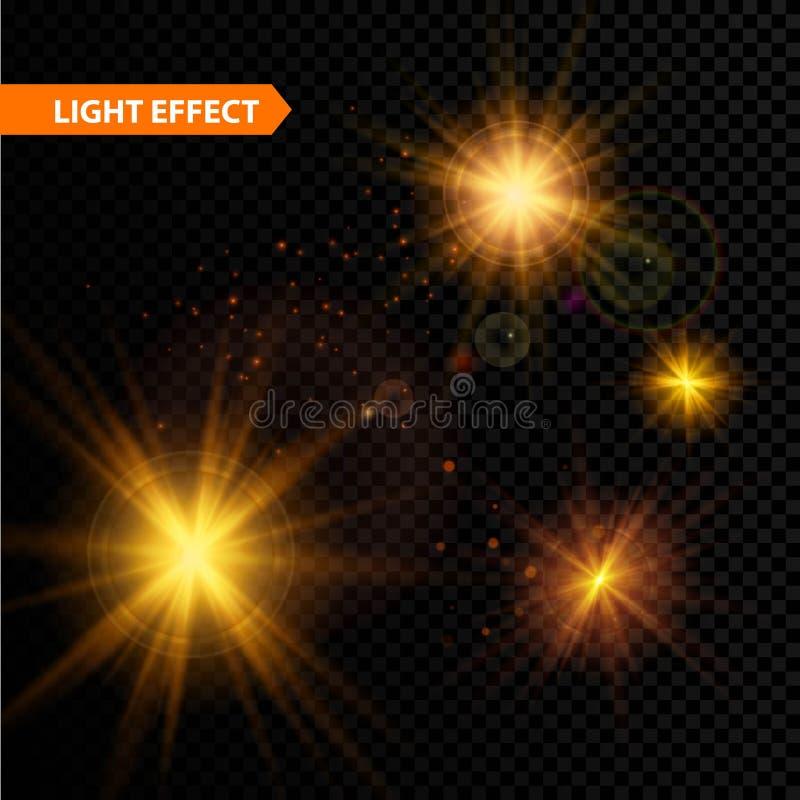 L'insieme delle stelle d'ardore di effetto della luce scoppia con illustrazione vettoriale