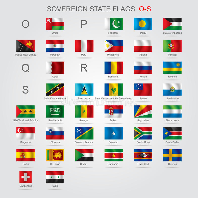 L'insieme dello stato sovrano inbandiera l'OS illustrazione di stock
