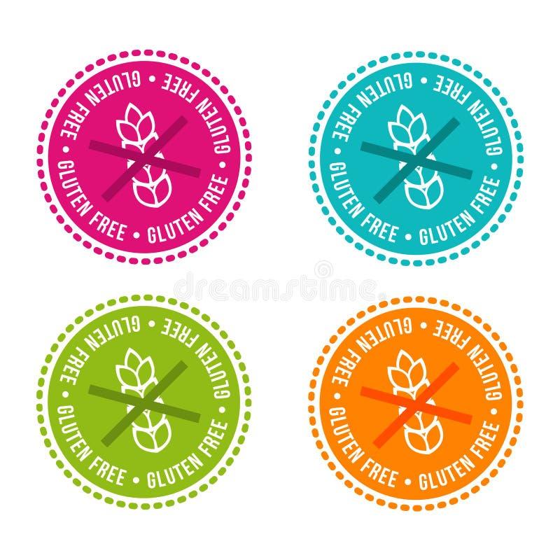 L'insieme di allergene libera i distintivi Il glutine libera Segni disegnati a mano di vettore Può essere usato per progettazione royalty illustrazione gratis
