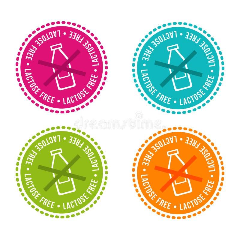 L'insieme di allergene libera i distintivi Senza lattosio Segni disegnati a mano di vettore Può essere usato per progettazione di illustrazione vettoriale