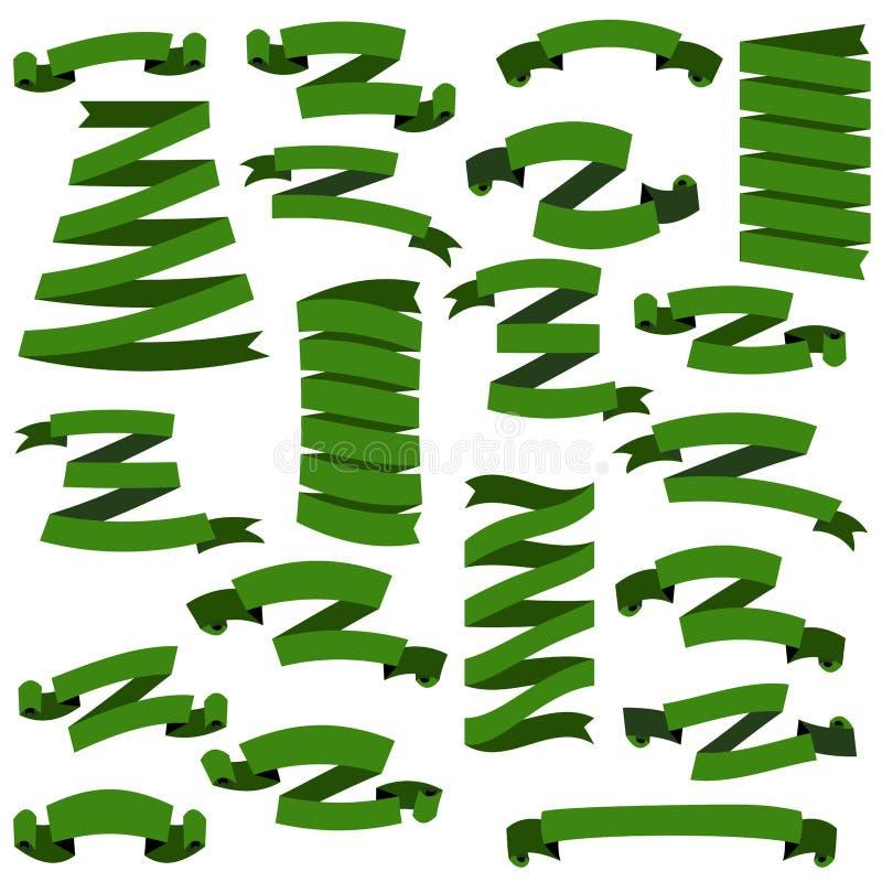 L'insieme di bei nastri verdi festivi, su fondo bianco, vector l'illustrazione illustrazione vettoriale