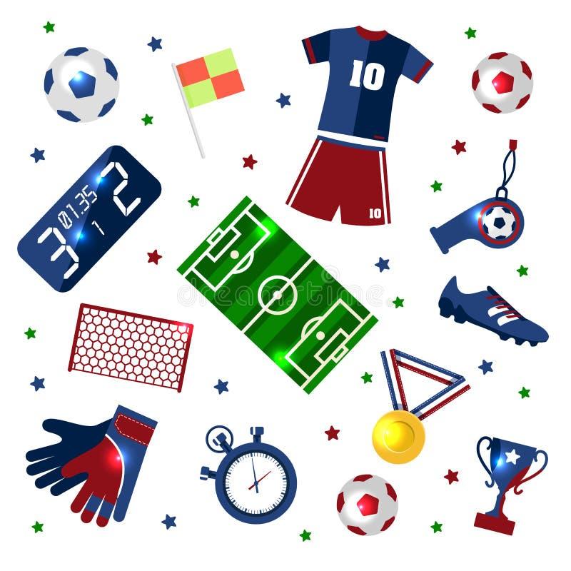 L'insieme di calcio delle icone con il campo, la palla, il trofeo, il tabellone segnapunti, il fischio, i guanti e gli stivali ha illustrazione vettoriale