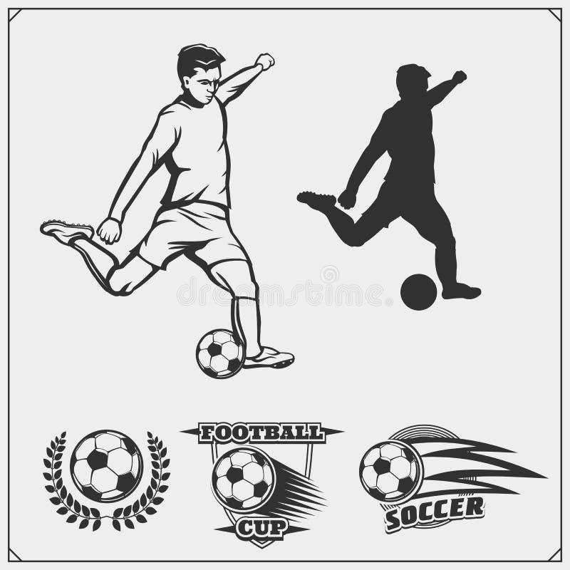 L'insieme di calcio e di calcio di vettore simbolizza, etichette ed elementi di progettazione Siluette del giocatore royalty illustrazione gratis