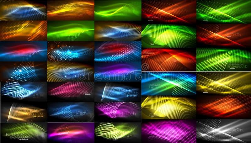 L'insieme di colore al neon brillante si accende sugli ambiti di provenienza scuri, effetti vaghi illustrazione di stock