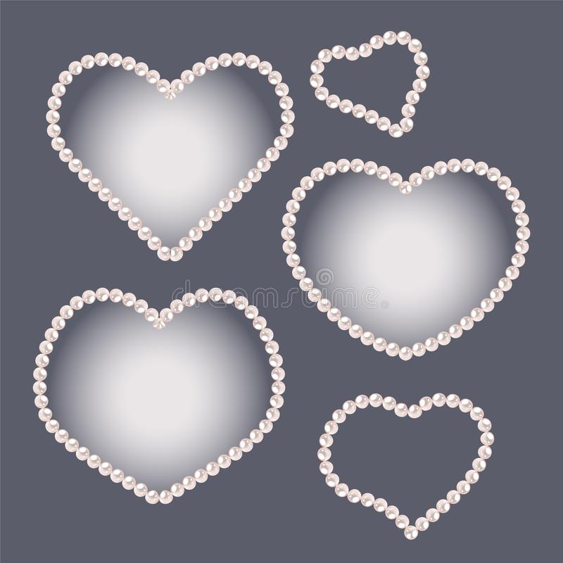 L'insieme di cuore ha modellato le strutture della perla isolate su fondo grigio illustrazione di stock