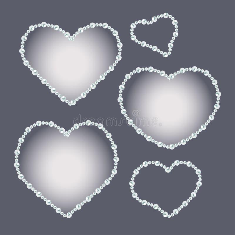 L'insieme di cuore ha modellato le strutture della perla isolate su fondo grigio royalty illustrazione gratis