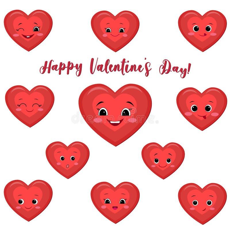 L'insieme di cuore rosso sveglio sorride nello stile del fumetto illustrazione vettoriale
