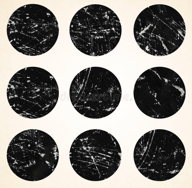 L'insieme di inchiostro ha graffiato i colpi della spazzola, cerchio, rotondo illustrazione di stock