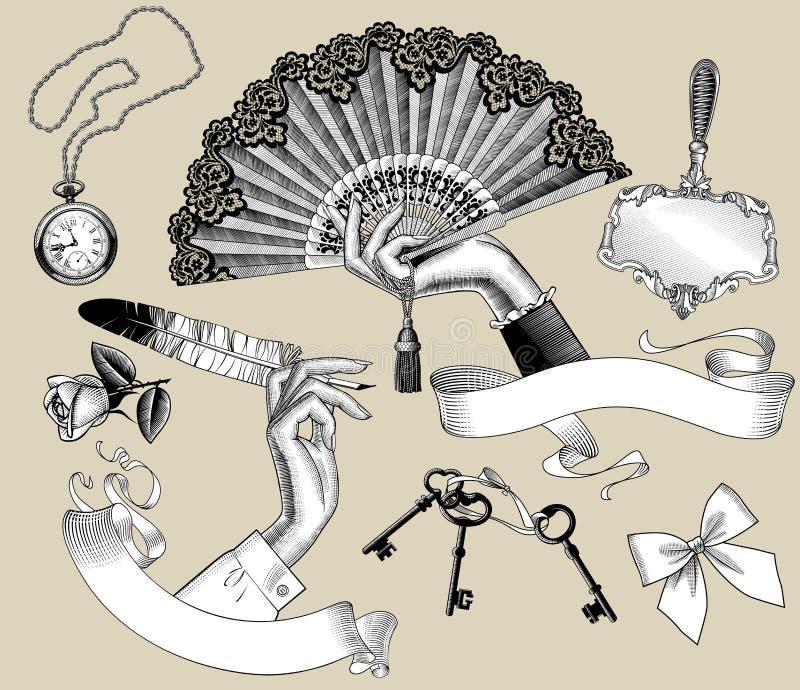L'insieme di incisione d'annata ha stilizzato i disegni delle mani del ` s della donna e illustrazione di stock