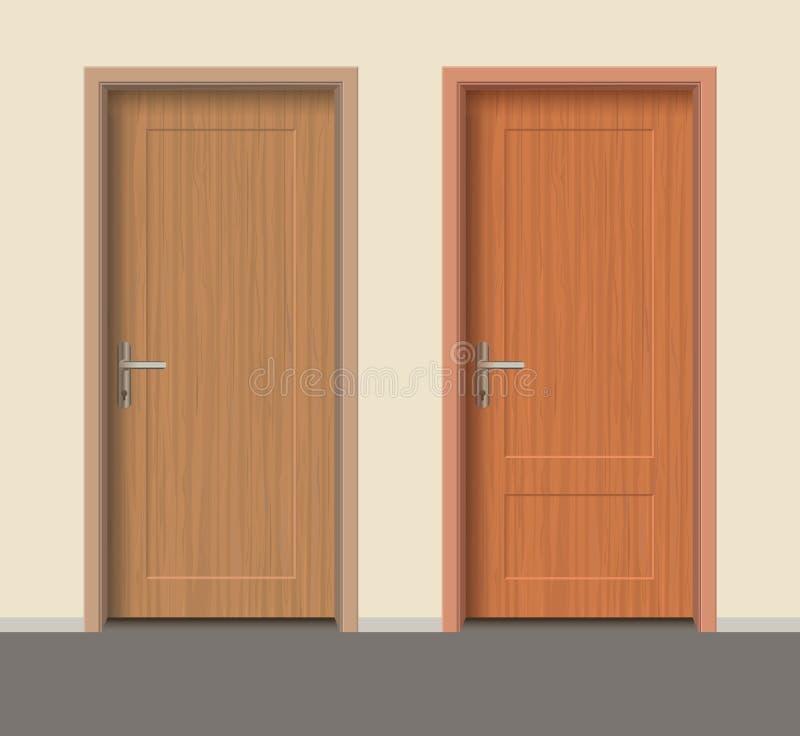 L'insieme di legno della porta, appartamento interno a porta chiusa con ferro munisce illustrazione vettoriale