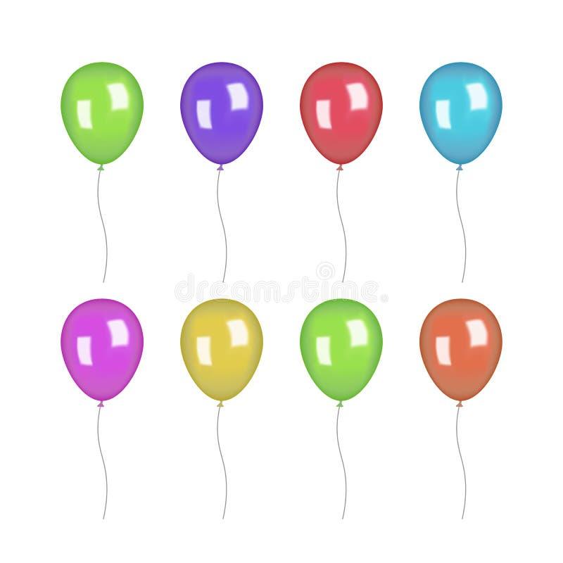 L'insieme di lucido variopinto e della riflessione balloons nel tema di festival Progettazione isolata di vettore su fondo bianco royalty illustrazione gratis
