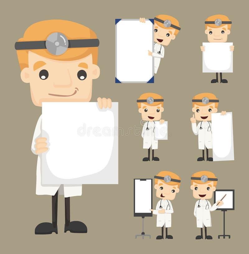 L'insieme di medico che tiene i caratteri in bianco delle note posa royalty illustrazione gratis