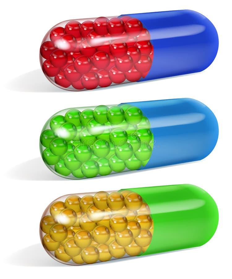 L'insieme di mezze capsule oblunghe trasparenti multicolori ha riempito  illustrazione vettoriale