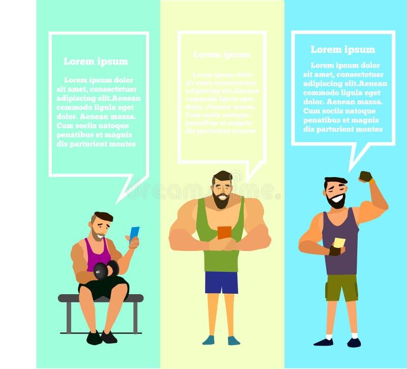 L'insieme di muscolare, barbuto equipaggia l'illustrazione di vettore dello smartphone immagini stock libere da diritti
