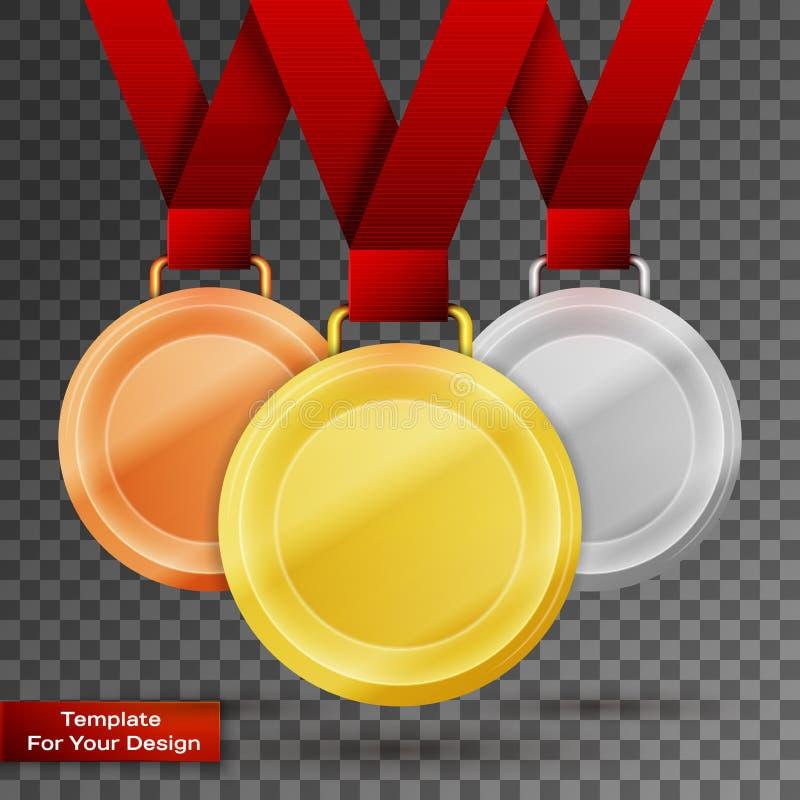 L'insieme di oro, l'argento ed il bronzo assegnano le medaglie royalty illustrazione gratis