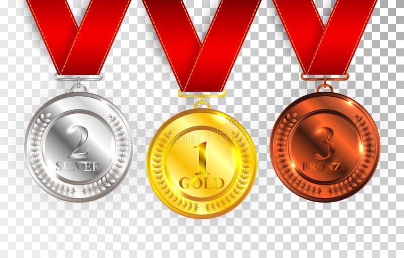 L'insieme di oro, l'argento ed il bronzo assegnano le medaglie con i nastri rossi Raccolta lucidata vuota rotonda di vettore dell illustrazione vettoriale