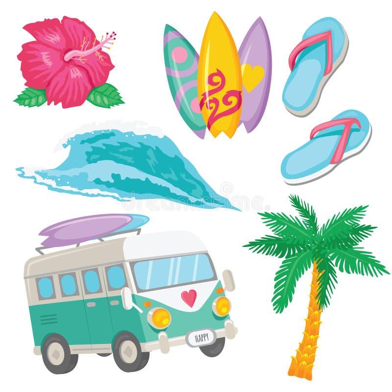 L'insieme di praticare il surfing variopinto obietta per web design o stampa fotografie stock